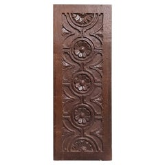 19th Century Antique Hand Carved Oak Panel
