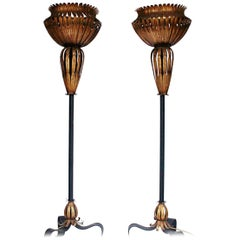 Pair of Torchiere Floor Lamps