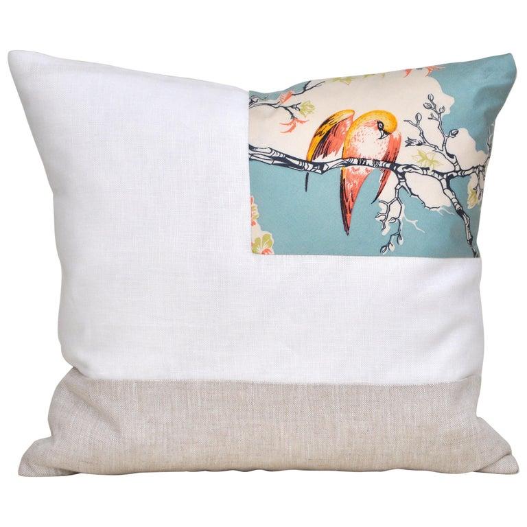 Rare Vintage Liberty of London English Silk Pillow Irish Linen Birds Cushion For Sale