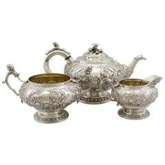 1822 Antique Scottish Sterling Silver Three-Piece Tea Service