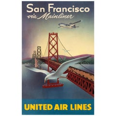 Original Vintage Travel Poster for San Francisco Via Mainliner United Air Lines