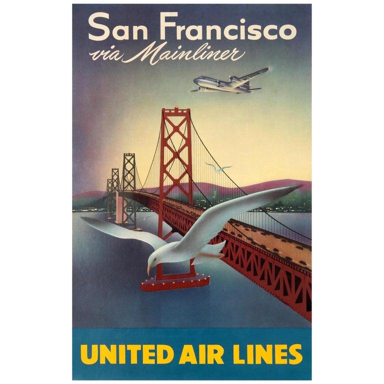 Original Vintage Travel Poster for San Francisco Via Mainliner United Air Lines For Sale