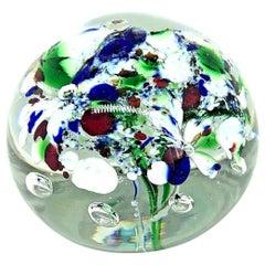 Petite Murano Glass Millefiori Paperweight Mid-Century Modern, Italy