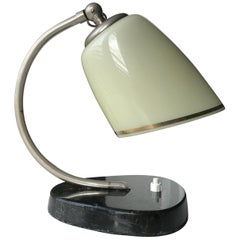 Art Deco Table Lamp with Crème Colored Glass Shade and Black Polished Base