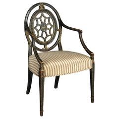 Late 18th Century George III Period Ebonized Open Armchair