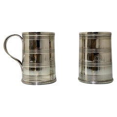 Mid-18th Century Antique George III Sterling Silver Pair 3/4 Pint Mugs London 17