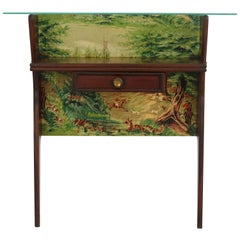 Italian Small Wall Console with Chintz Upholstery and Hunting Motives, 1950s