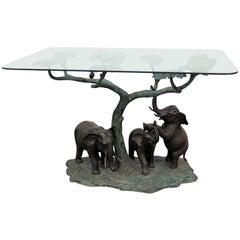 Sculptural Glass Top Center Table