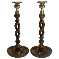 Pair of Antique English Oak Open Barley Twist Candlesticks, Brass Thistle Tops