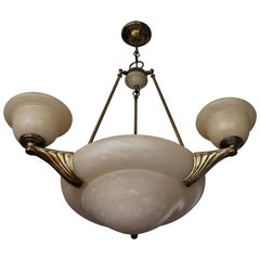 Arts & Crafts Style Alabaster and Golden Coated Bronze and Brass Pendant Light
