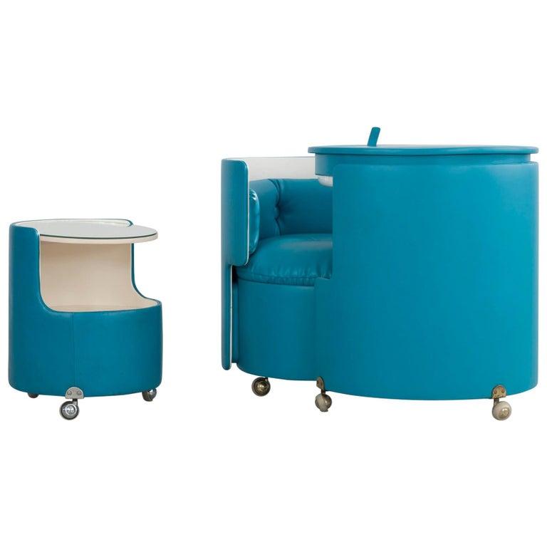 Blue Dilly Dally Dressing Table by Luigi Massoni for Poltrona Frau ...