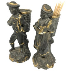 Beautiful Couple Toothpick Holder Figurines Vintage Austria, 1890s
