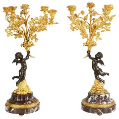 Large Pair of Louis XVI Style Gilded Candelabra, 19th Century