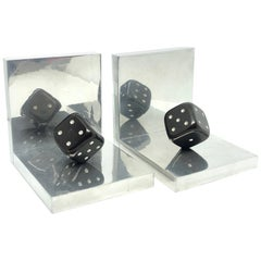 Pair of Art Deco Dice Bookends Black and Chrome Vintage German
