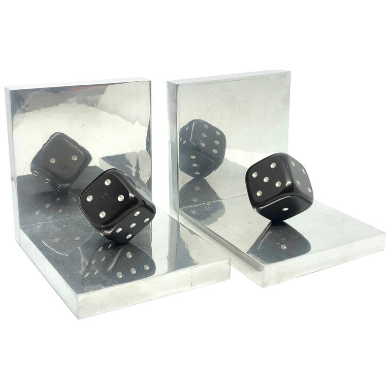 Pair of Art Deco Dice Bookends Black and Chrome Vintage German For Sale