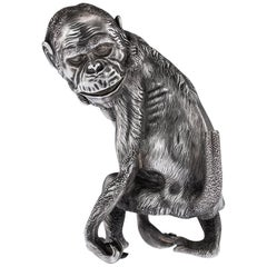 Antique Russian Faberge Lighter in the Form of a Chimpanzee, circa 1900