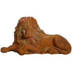 Weathered Flat Back Terracotta Lion Garden Ornament