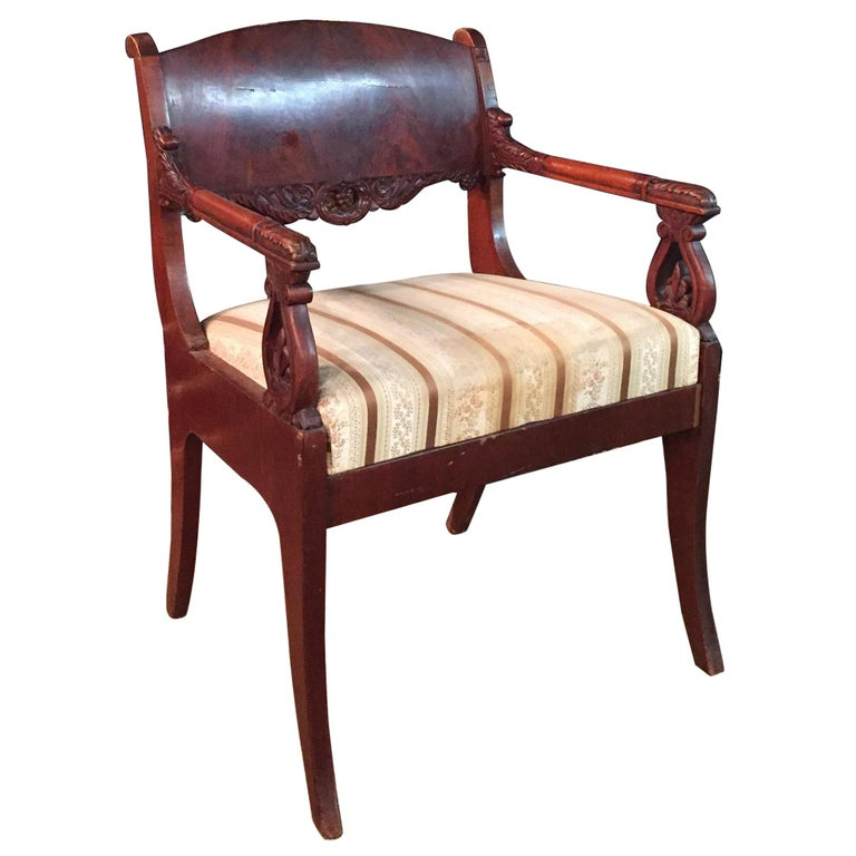 19th Century Empire Style a Russian Armchair For Sale