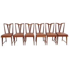 Set of Six Solid Wood Dining Chairs with Brown Skai Upholstery, Italy, 1950s