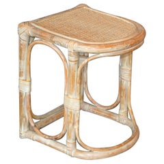 Vintage Bamboo and Cane White Washed Side Table, End Table