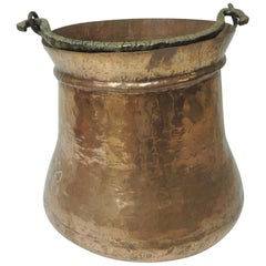 Vintage Round Moroccan Polished Copper Decorative Planter with Handle