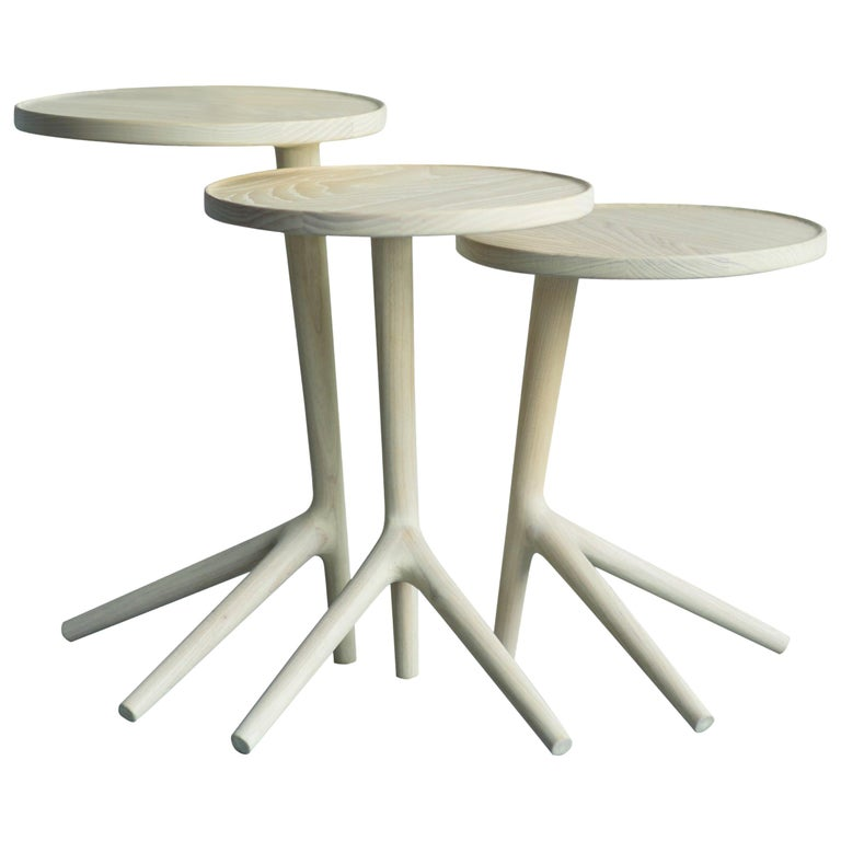 Tripod Table in White Ash Wood, Cocktail Nesting Table by Fernweh Woodworking For Sale
