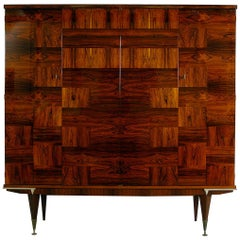1950s French Midcentury Modern Rio Rosewood Palisander Fitted Cabinet Credenza