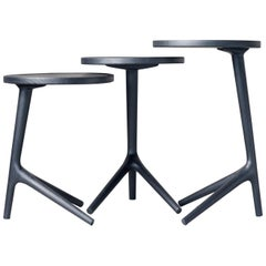 Tripod Table Charcoal stained Ash Wood, Black End Table