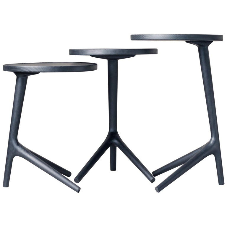 Tripod Table Charcoal stained Ash Wood, Black End Table  For Sale