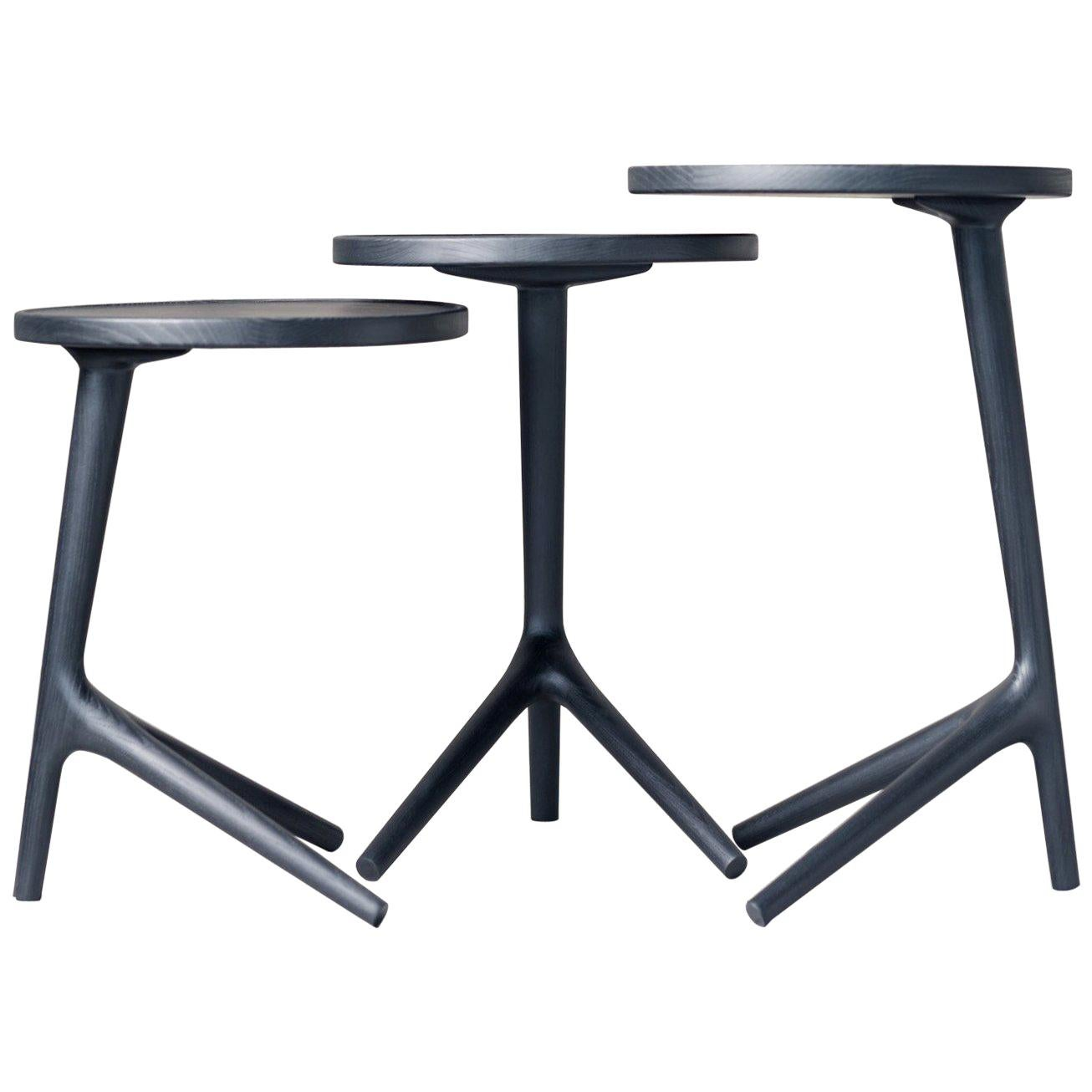 Tripod Table in Charcoal Stained Ash Wood - Accent Nesting Table for Living Room