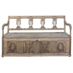 19th Century Swedish Neoclassical Hand Carved Hall Bench