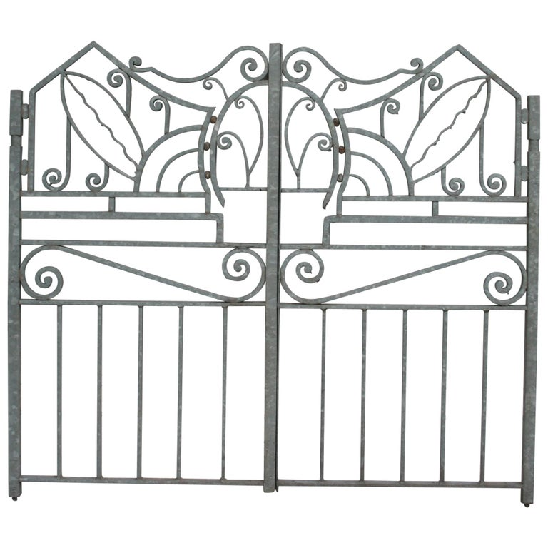 Antique Wrought Iron Gate from Switzerland, Sandblasted and Galvanized For Sale