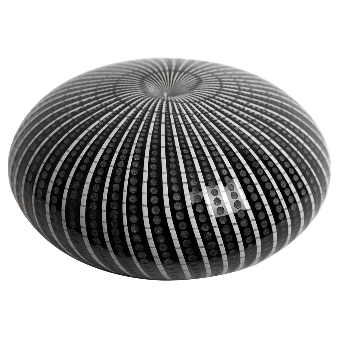 One of a Kind Blown and Watermarked Black and White Glass Vase