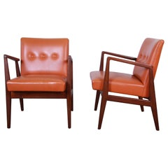 Jens Risom Mid-Century Modern Sculpted Walnut Lounge Chairs, Pair
