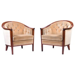 Pair of 1950s Mahogany Buttoned Armchairs