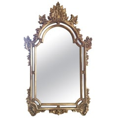Baroque Carved Large Gilt Hanging Wall Mirror