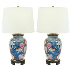 Pair  Porcelain with Mahogany Wood Base Table Lamps