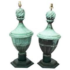 Pair of Copper Neoclassical Urn Finial Lamps, circa 1890