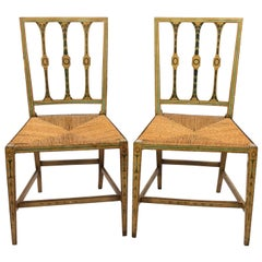 Pair of Green Painted English Regency Style Side Chairs
