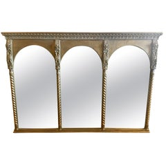 Large Empire Style Triptych Three Part Gilt Mantel Mirror