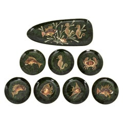 Set of French Painted Sea Life Plates by Maoi, circa 1960