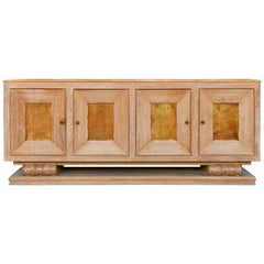 Large Art Deco Limed Oak and Velum Sideboard, by Perdoni Lombard