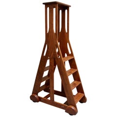 Midcentury Style Modern Double Sided Figured Walnut Library Ladder
