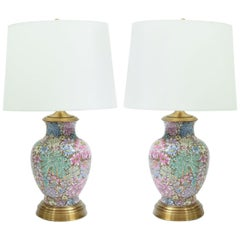 Pair French Gilt Base Cloisonné Enamel Table Lamps