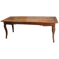 19th Century French Fruitwood Farm Table with Long Drawer