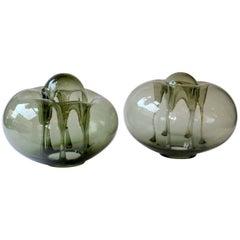 Two Organic Freeform Hand Blown Glass Sculptures, Czech, 1970s