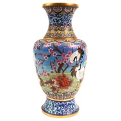 Very Large Decorative Cloisonné with Blossom Flowers Vase or Piece