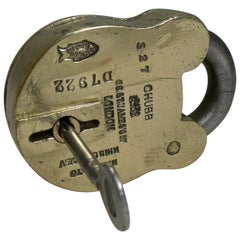 Large Antique English Brass and Steel Padlock by Chubb, London, circa 1880