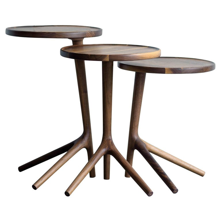 Tripod Table in Walnut End Accent Nesting Tables for a Living Room Set of Three  For Sale