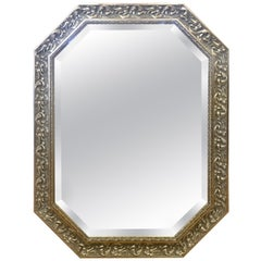 Octagonal Carved Beveled Hanging Wall Mirror Done in Gilt and Silver Color